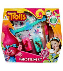 DreamWorks 'Trolls' showcases the adventures of the coolest Trolls around, with the funkiest hairstyles! Now you can have amazing hair just like Poppy and Branch with the Trolls Hair Styling Kit! Style your hair in new ways, colour it with creative colours, or wear the same headband as Poppy! This set includes 2 hair sticks, 1 hair mascara, 1 hair sticker sheet and 1 head band.
